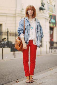 red pants + blue denim