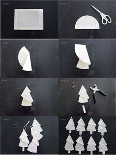 Anleitung für die Bäumchen aus alten Buchseiten… Tutorial… – HANDMADE Kultur And I fold and fold …. Instructions for the trees from old book pages … Tutorial … – HANDMADE culture … Noel Christmas, Christmas Crafts For Kids, Crafts To Sell, Holiday Crafts, Diy And Crafts, Sell Diy, Origami Christmas Tree, Xmas Trees, Hard Crafts