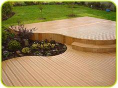 earthwood deck Deck Design, Floor Design, Deck Around Trees, Platform Deck, Deck Stairs, Composite Decking, Building A Deck, Porch, Planters