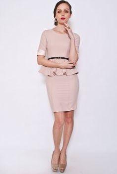 LUXE Lace Sleeved Peplum Dress + Belt (nude)