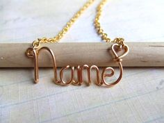 Personalized Necklace Gold Name Necklace Up to 8 Letters Word Necklace Word Jewelry Teen Jewelry  Wire Wrapped Jewelry Gifts Under 20. $16.95, via Etsy.