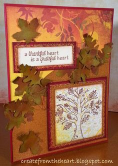 "A card I made for the monthly ""be Inspired"" challenge by Unity Stamp Co. The stamp I used is their Itty-Bitty Stamp called ""Thankful & Grateful Oak"""