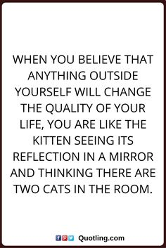 change quotes When you believe that anything outside yourself will change the quality of your life, you are like the kitten seeing its reflection in a mirror and thinking there are two cats in the room.
