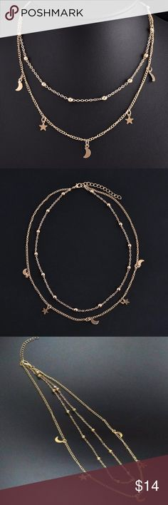 """Gold Moon and Star Choker Necklace This is a really pretty 2 strand choker necklace. On the first gold choker strand are small beads of gold spaced out and on the 2nd, longer strand are moons and stars spaced out. It's a great choker necklace to own or to give. It measures 16"""". Jewelry Necklaces"""