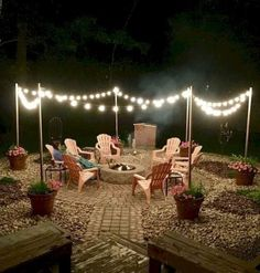 Awesome DIY Fire Pit Plans Ideas With Lighting in Frontyard Fantastische DIY-Feuerstelle plant Ideen mit Beleuchtung in Frontyard Backyard Patio Designs, Backyard Projects, Backyard Landscaping, Backyard Gazebo, Fire Pit Landscaping Ideas, Back Yard Patio Ideas, Cheap Backyard Ideas, Patio Ideas On A Budget, Pergola Patio