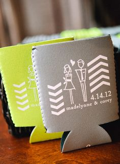 Love the idea of custom koozies. 1. Cheap favor. 2. Will save all your wedding pictures from bottles. 3. People will use them.