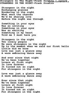 Перевод текста песни Strangers in the Night исполнителя (группы) Frank...