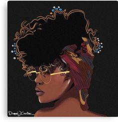 'Black Girl Magic ' Canvas Print by Diamondjae Art Black Love, Black Girl Art, Black Is Beautiful, Black Girl Magic, Art Girl, Black Girls, African American Art, African Art, Art Afro Au Naturel