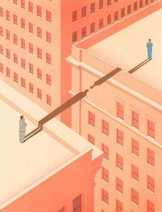 Guy Billout - Executives shadows bridge. Watercolor and airbrush