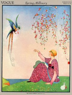Vogue cover - March 15, 1914. By George Wolfe Plank -- Spring Millinery