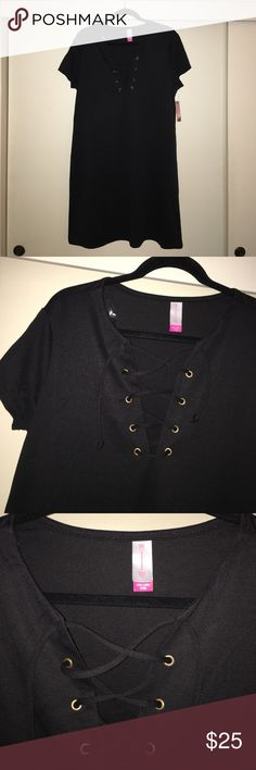 Lace up front T-Shirt Dress ⚡️Brand New ⚡️ Super cute black v neck lace up dress! Fits like a XL but is an XXL! No Boundaries Dresses Mini