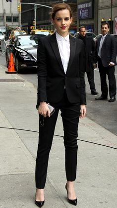 Emma Watson in Saint Lauren and Christian Louboutin for the David Letterman Show in NYC.   Yup. Nailed it.