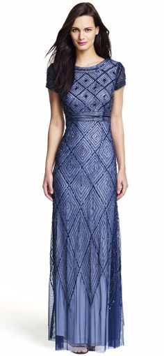 NWT Adrianna Papell Navy Geometric Short Sleeve Beaded Gown  *Size 8