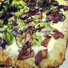 Cauliflower Pizza Crust with Bacon, Brussels Sprouts + Shallots