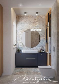 bathroom with the round mirror Contemporary Bathroom Designs, Bathroom Design Luxury, Bath Design, Beach House Bathroom, Small Bathroom, Home Office Design, Home Interior Design, Home Entrance Decor, Bathroom Design Inspiration