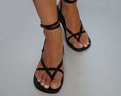 Toe Ring Ankle Strap Barefoot Handmade Leather Sandals par Calpas