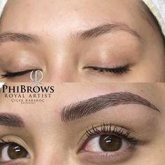 Perfect Eyebrows Made Easy With Semi Permanent Make Up Eyebrow Makeup Tips, Permanent Makeup Eyebrows, Eye Makeup, Eyebrow Tinting, Mircoblading Eyebrows, Eyebrows Goals, Eyelashes, Maquillage Yeux Cut Crease, Eyebrow Design