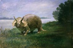 Charles R. Knight may be the most famous of all paleontological illustrators. This painting of the museum's Triceratops was commissioned by the Smithsonian and completed in 1901. In 1905, the Smithsonian Institution mounted the world's first skeletal reconstruction of Triceratops for exhibition. The mount was a composite of sixteen individual skeletons of Triceratops as no single skeleton was complete.