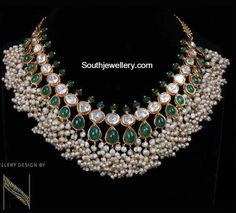 22 carat gold antique Guttapusalu necklace adorned with kundans, polkis and pearls designed by Nikitha Linga. India Jewelry, Pearl Jewelry, Gold Jewelry, Jewelery, Trendy Jewelry, Indian Jewellery Design, Latest Jewellery, Jewelry Design, Bold Necklace