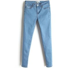 LUCLUC Blue Simple Mid Waist Jean (€27) ❤ liked on Polyvore featuring jeans, pants, bottoms, lucluc and blue jeans