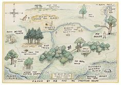 classic pooh map of the hundred acre wood