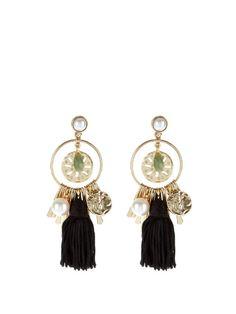 Oscar De La Renta Tassel and charm earrings