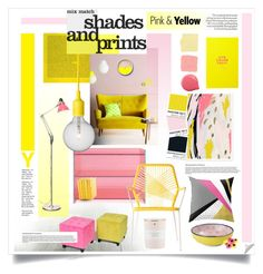 """""""Colour challenge: pink & yellow"""" by sherbetfountain ❤ liked on Polyvore featuring interior, interiors, interior design, home, home decor, interior decorating, Glas Italia, Pure Home, Tokyo Design Studio and Muuto"""