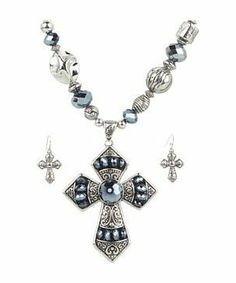 M&F Western Beaded Cross Necklace/Earring Set #accessories  #jewelry  #jewelry sets  https://www.heeyy.com/suggests/mf-western-beaded-cross-necklaceearring-set-silver/