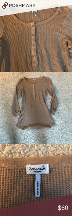 Splendid never worn long sleeve waffle Henley Buttery soft blend, scoop neck , four snap true closet essential that is very comfortable Splendid Tops Tees - Long Sleeve