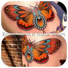 Bejewelled moth by Emily Wood - Black Heart Tattoo Studio, Epsom, UK Insect Tattoo, Moth Tattoo, Black Heart Tattoos, Horse Flowers, Traditional Tattoo Art, Dog Tattoos, Tatoos, Butterfly Tattoo Designs, Creative Tattoos