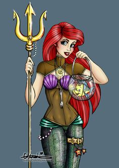 Steampunk Ariel from The Little Mermaid Art Print by Hungry Designs Disney Princess Tattoo, Disney Princess Ariel, Punk Princess, Princess Jasmine, Dark Disney, Disney Love, Disney Art, Steampunk Disney Princesses, Geeks