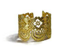 gold lace cuff bracelet greek jewelry filigree by MyElesi Greek Jewelry, Lace Jewelry, Metal Jewelry, Wedding Jewelry, Jewelery, Metallic Lace, Gold Lace, Embroidery Shop, Lace Cuffs