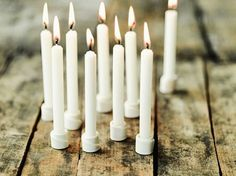 """picked up some menorah candles tonight. they're tiny 3"""" tapers. Looking out for the right piece of wood to become my advent stand :)"""