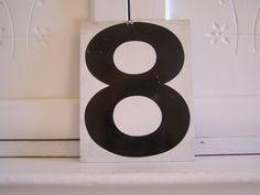 Vintage Metal Sign Number 8 or 7 by HogsAndHominy on Etsy, $15.00