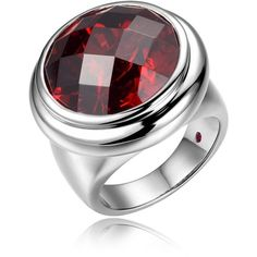 ELLE Jewelry - GALAXY Sterling Silver Red CZ Ring featuring polyvore, fashion, jewelry, rings, sparkle jewelry, sterling silver cubic zirconia rings, sterling silver jewellery, polish jewelry and zirconia rings
