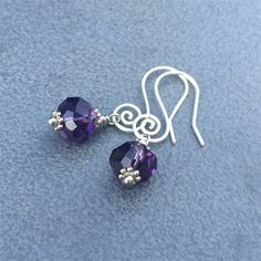 Faceted Purple Crystal and Silver Earrings
