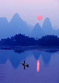 lei river sunset china