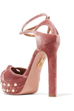 Aquazzura - Harlow Embellished Velvet Platform Sandals - Antique rose - IT36.5