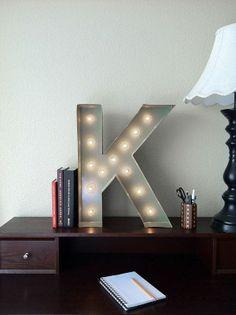 Vintage Inspired Marquee Light Letter K by SaddleShoeSigns on Etsy, $150.00 @ http://lightingworldbay.com #lighting
