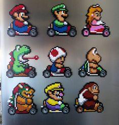 Mario Kart magnets hama beads by Pixel Nerd