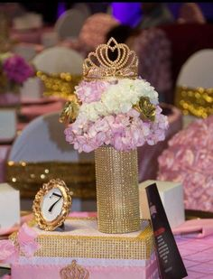 pink and gold centerpiece at a princess birthday party! See more party planning ideas at ! Sweet 16 Birthday, 15th Birthday, Gold Birthday, Birthday Parties, Birthday Ideas, Princess Theme Party, Baby Shower Princess, Princess Birthday Centerpieces, Royalty Theme Party