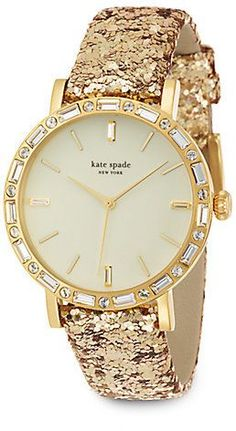 Kate Spade Metro Grand Pavé Goldtone Stainless Steel & Interchangeable Glitter Leather Strap Watch