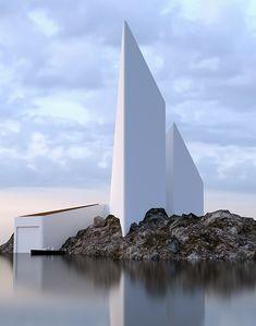 extrem modernes haus als beispiel für minimalistische architektur mit schlichte weißen fassaden und höhen Konstriktion
