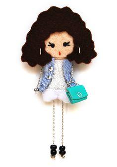 Julia. # felt dolls # brooche doll # custom doll # minimis