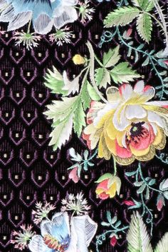 Detail embroidery, court coat, France or Spain, 1790s with later alterations. Voided black velvet, embroidered with floral naturalist flowers and lace effects with tulle edgings.