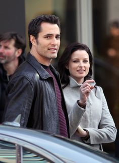 """Victor Webster and Rachel Nichols on the set of Continuum 1x03 """"Wasting Time"""" - Feb. 6, 2012 (via zimbio)"""