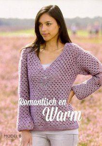 Gehaakte trui met bloem motief Stone Washed XL