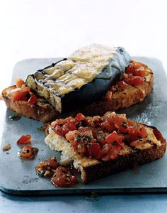 Eggplant and Smoked-Gouda Open-Faced Grilled Sandwiches | Epicurious.com — Grill marks, @ginger smythe!