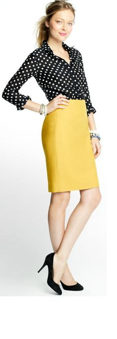 polka dots and mustard yellow pencil skirt. jcrew factory - I actually own all of these pieces!