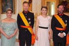 After celebrations of National Day of Luxembourg that took place on Thursday, in the evening, Grand Duke Henry and Grand Duchess Maria Teresa held a reception at Grand Ducal Palace, and the reception was attended by Hereditary Grand Duke Guillaume, Hereditary Grand Duchess Stéphanie, Prince Félix, Princess Claire, Prince Louis, Princess Tessy, Princess Alexandra and Prince Sebastien of Luxembourg.